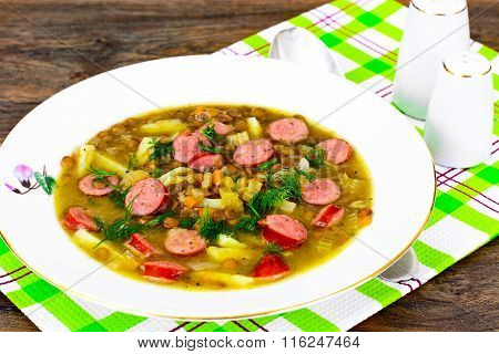 Healthy and Diet Food. Soup with Lentils and Sausage
