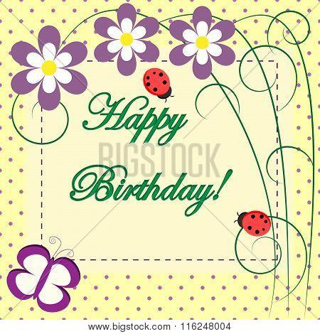 Happy birthday vector spring floral card