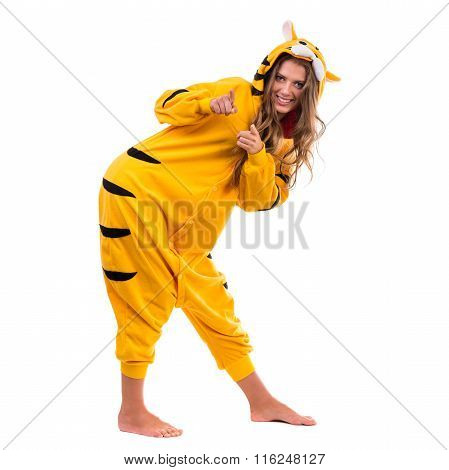 Girl dressed as a tiger