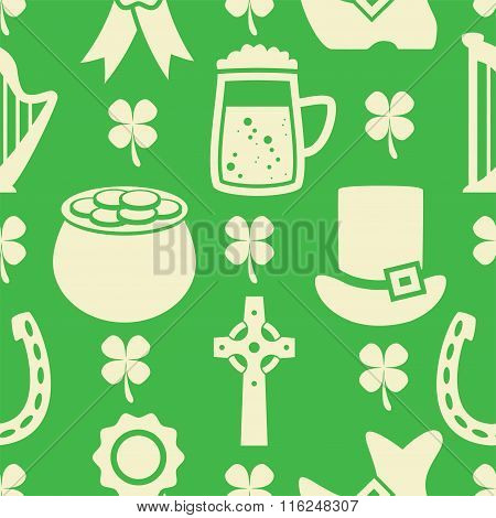 Vector Seamless Pattern Of Irish St. Patrick's Day