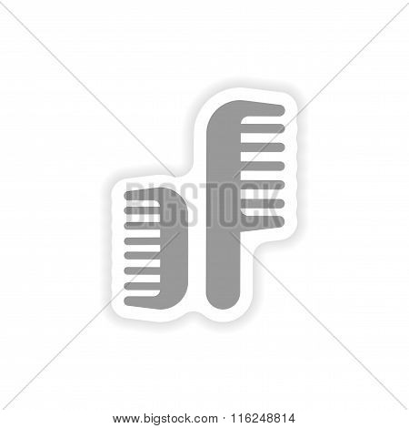 stylish paper sticker on white background combs