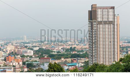 Building And Skyscrapers Bird Eye View From The View Point Of Pattaya Beach