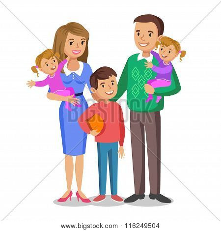 Happy Family Portrait, Smiling Parents And Kids. Concept Happy Family, Family Love.
