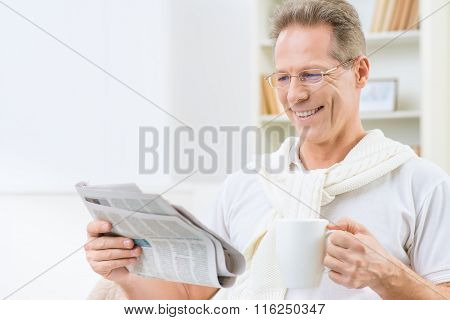 Adult man drinking tea