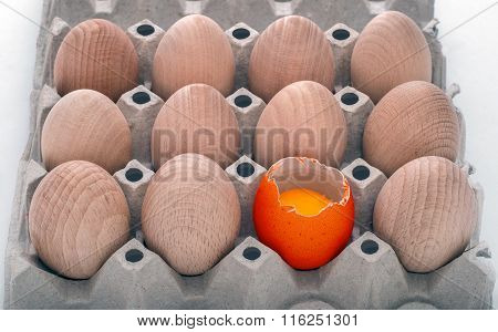 Wooden Egs In A Carton