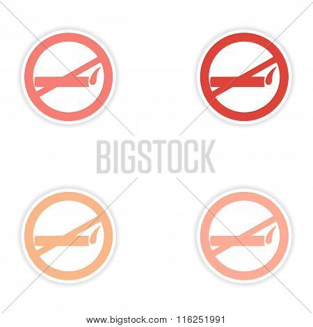 assembly realistic sticker design on paper smoking allowed