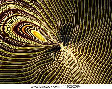 Abstract digitally generated image twisted stripes