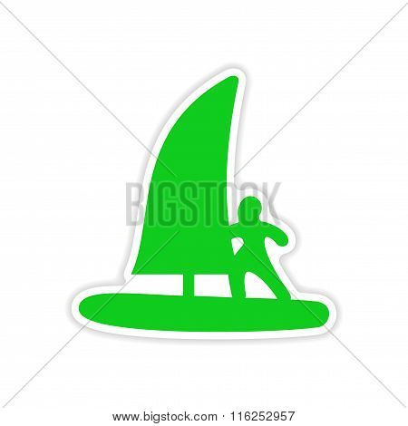 icon sticker realistic design on paper windsurfing