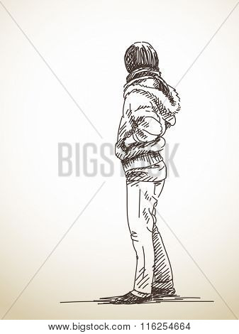 Sketch of standing woman in jacket, Hand drawn illustration