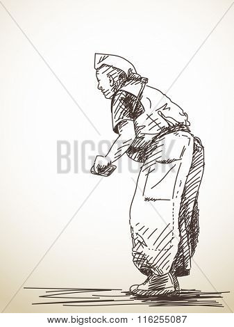 Sketch of praying buddhist man, Hand drawn illustration