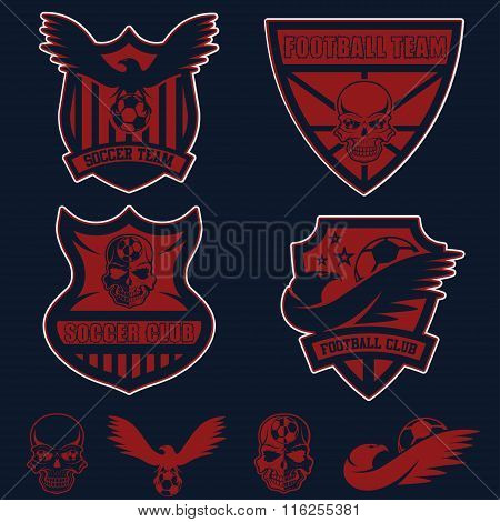Football Team Crests Set With Eagles And Skulls