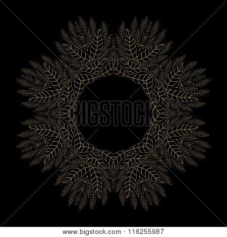 Ethnicity Floral  Round Ornament On The Black Background . Circular Ornament In Ethnic Style. Vintag