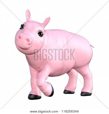 Pink Pig On White