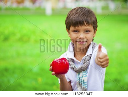 Closeup portrait of beautiful little boy holds red apple on the background of summer park