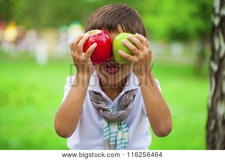 Closeup portrait of beautiful little boy holds two apples on the background of summer park