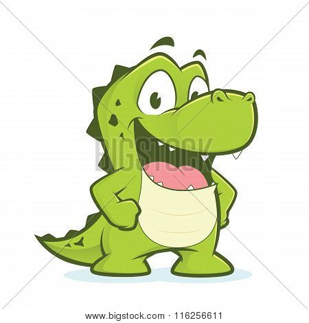 Crocodile or alligator with hands on hips
