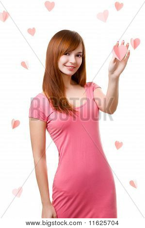 Woman Touching Heart Shape