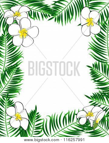 Tropical frame. Aloha style. Palm leaves and flowers