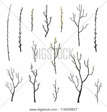 Doodle spring twigs set.