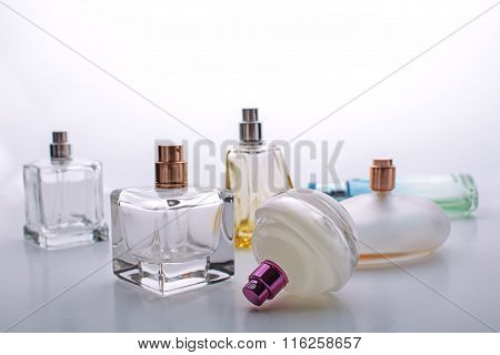 Perfumery. Perfume Bottle Closeup On A White Background.