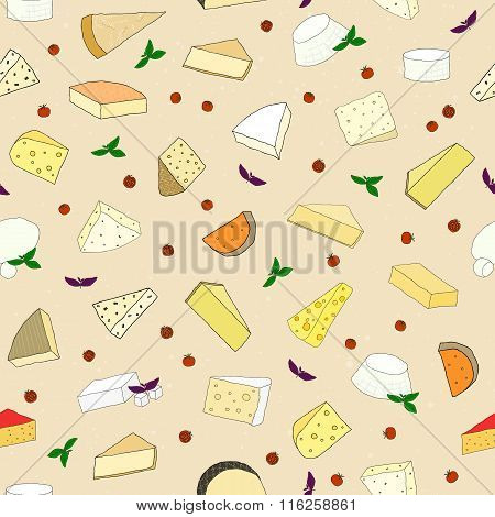 Seamless pattern with hand drawn cheese, basil and cherry tomatoes.