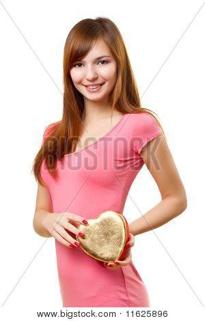 Woman Holding Heart Shape Box