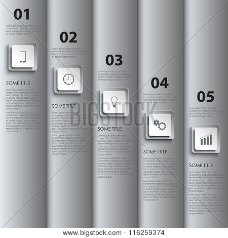 Info Graphic With Silver Stripes And Design Pointers