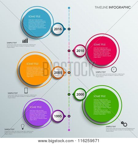Time Line Info Graphic With Colorful Design Elements Circles