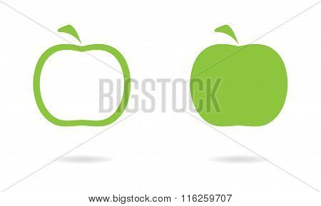 Apple icon set isolated on white background. Vector illustration of green apples.