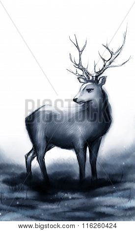 Winter Snow Forest Monochrome Navy Deer With Big Horns