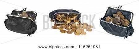 Set Black Leather Purse With Coins On White Background
