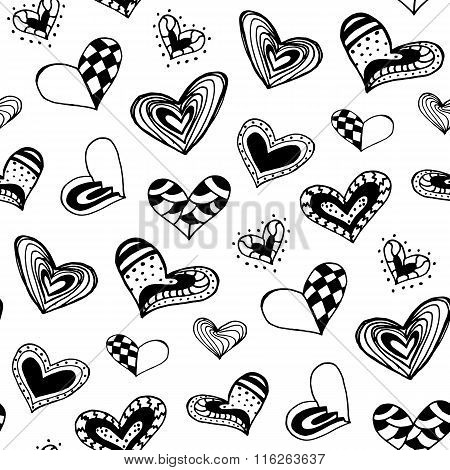 Seamless Pattern With The Hand Drawn Ink Doodle Hearts.