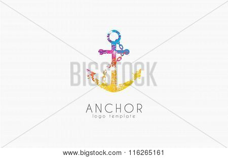 Anchor logo. Rainbow logo. Company logo. Colorful anchor