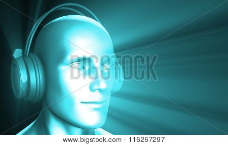Man Listening to Music Meditating in Earphones 3d