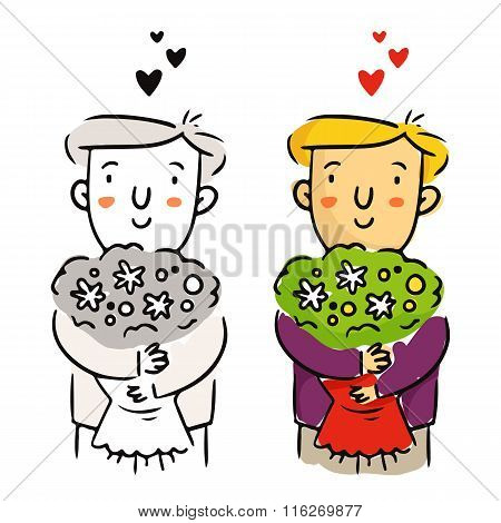 Freehand Cartoon Vector Character, Young Man In Love With Flower Bouquet for Valentine's Day