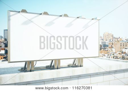 Blank Billboard On The Roof Of Building At Megapolis City Background, Mock Up