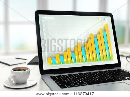 Business Graph On Laptop Screen With Cup Of Coffee On The Table In The Office At Sunrise