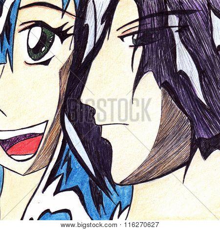 Anime Manga Cartoon Pair Boy And Smiling Girl