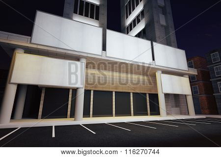 Blank White Billboards In Financial District Of Megapolis City At Night, Mock Up