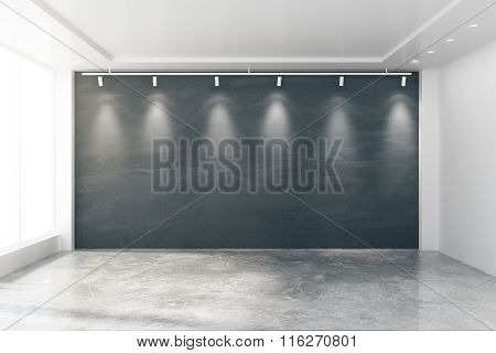 Empty Room With Big Windows, Blank Blackboard, Lamps And Concrete Floor