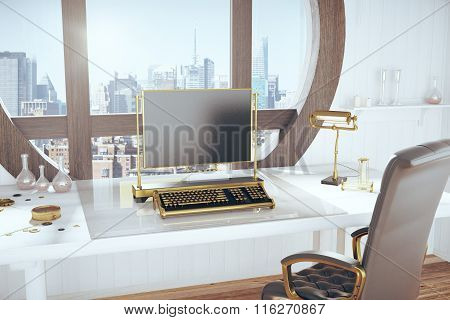 Steampunk Style Room With Vintage Typewriter And City View