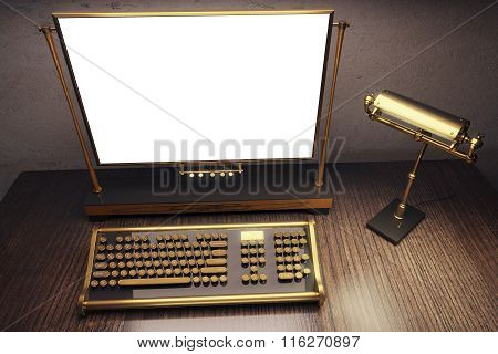 Blank White Screen Of Vintage Steampunk Typewriter With Old Style Lamp On Wooden Table, Mock Up