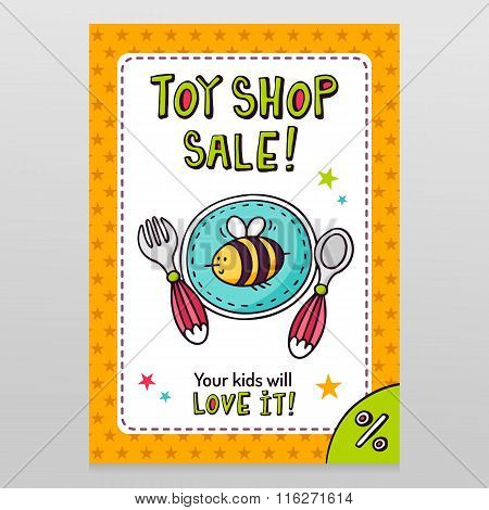 Toy Shop Vector Sale Flyer Design Baby Tableware - Plate, Fork And Spoon