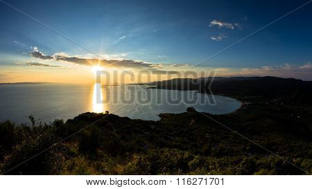 Sunset at Toroni bay, aerial photo from the top of a hill