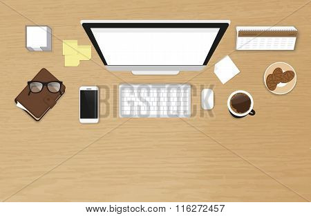 Realistic work desk organization top view with textured table