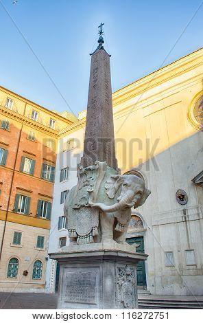 Elephant And Obelisk By Bernini In Piazza Della Minerva, Rome
