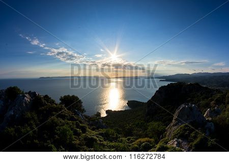 Sunset at greek coast in Sithonia, aerial photo from the top of a hill