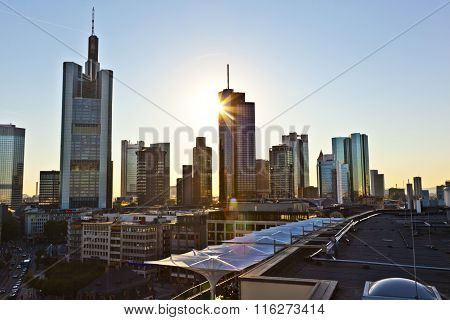 FRANKFURT, GERMANY - JUNE 7, 2012: view to skyline in Frankfurt with skyscraper at midday