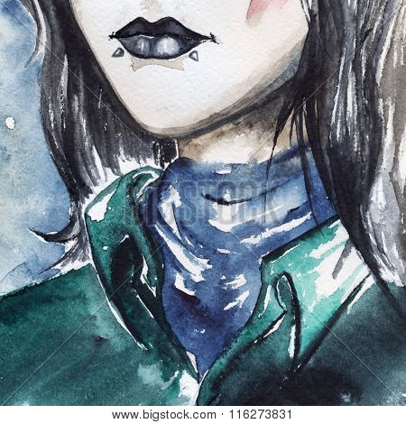 Gothic Freak Girl With Black Lips And Piercing Portrait