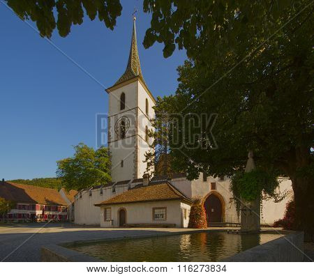 Fortified Church Of St Arbogast In The Village Muttenz